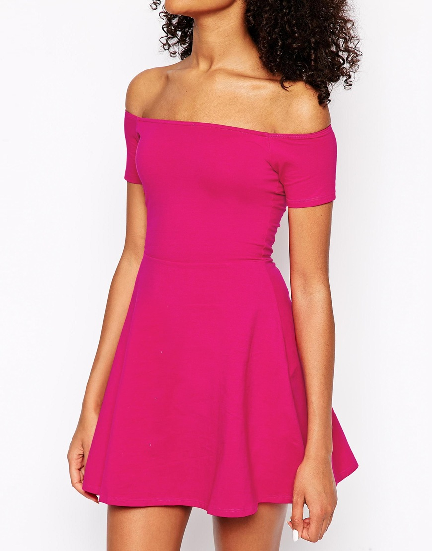 Lyst Motel Catalina Off The Shoulder Dress In Pink