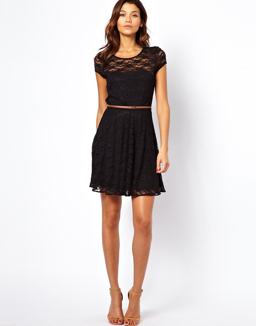 9230c0943ad ASOS Lace Skater Dress with Short Sleeves and Belt in Black - Lyst