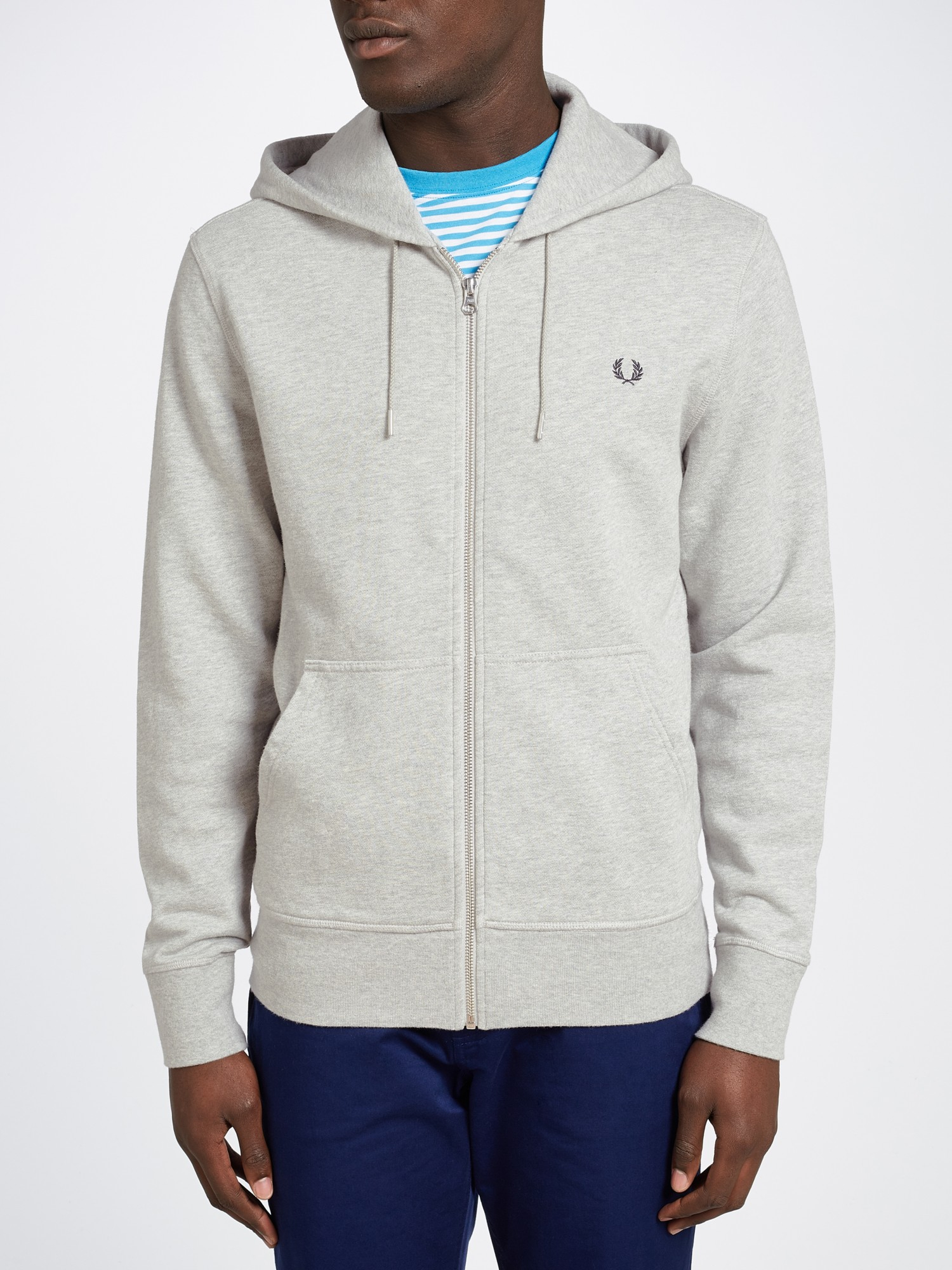 fred perry full zip loopback hoodie in gray for men lyst. Black Bedroom Furniture Sets. Home Design Ideas