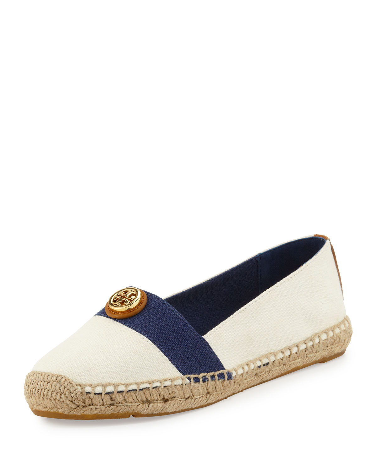 504a48e15a7 ... low cost lyst tory burch beacher canvas espadrille flat ivorynewport  navy d56ac 8918b