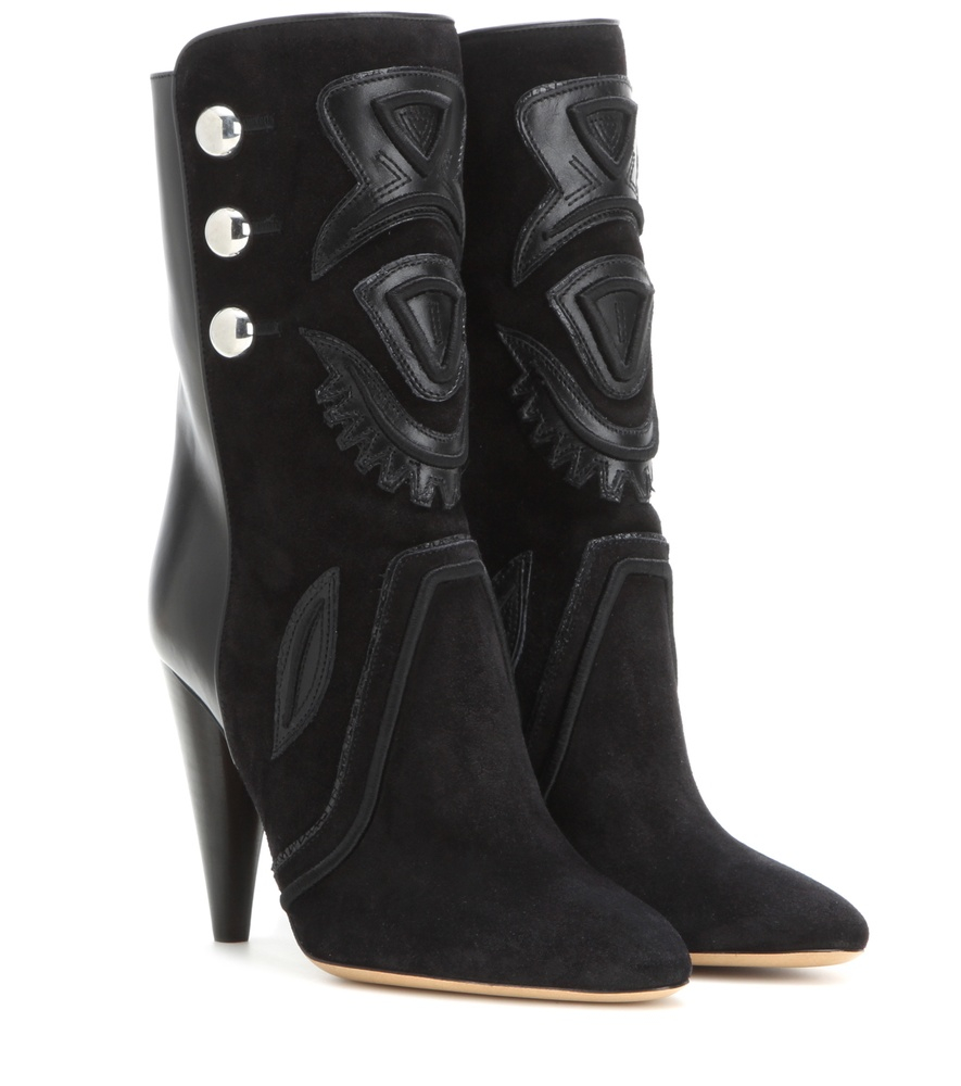 marant liv suede and leather ankle boots in black