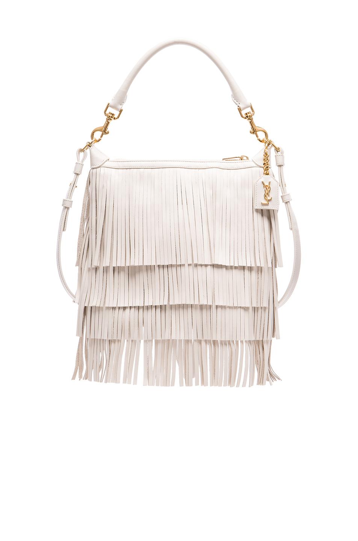yves st laurent bag - Saint laurent Emmanuelle Small Fringed Hobo Leather Bag in White ...