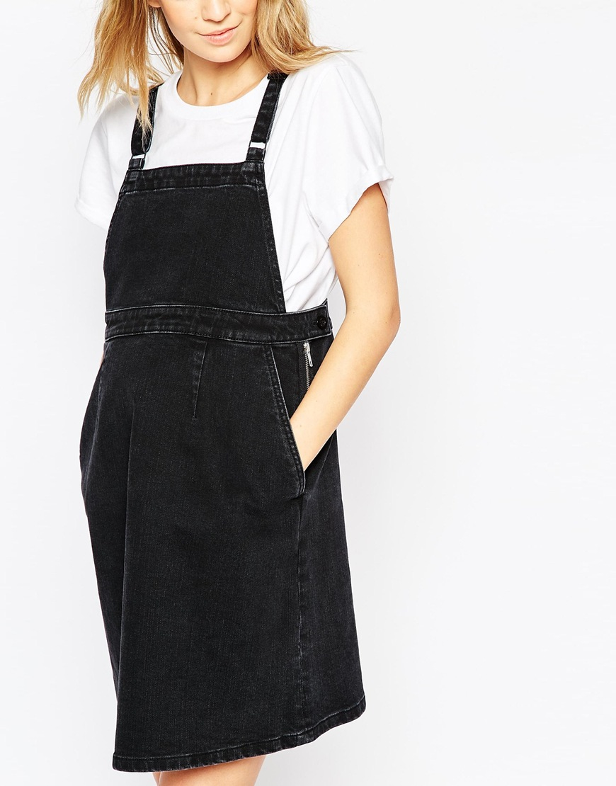 Lyst asos maternity denim a line pinafore dress in washed black gallery ombrellifo Choice Image