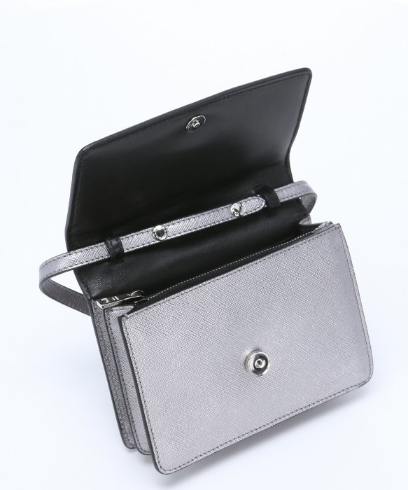 8f5b284cbaab0f ... discount code for lyst prada silver metallic saffiano leather mini  cross body bag in metallic 545eb