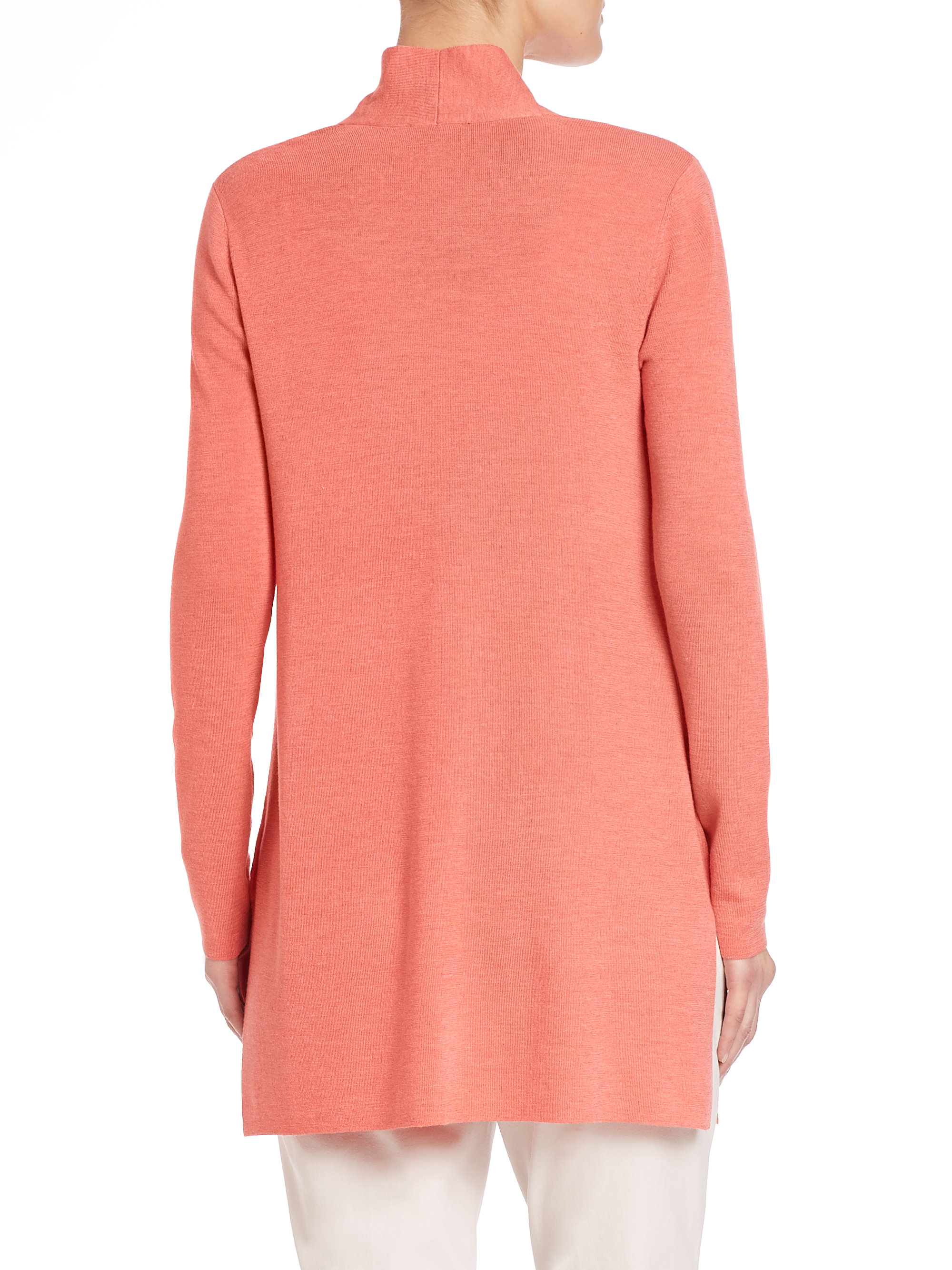 Eileen fisher Merino Wool Long Cardigan in Orange | Lyst