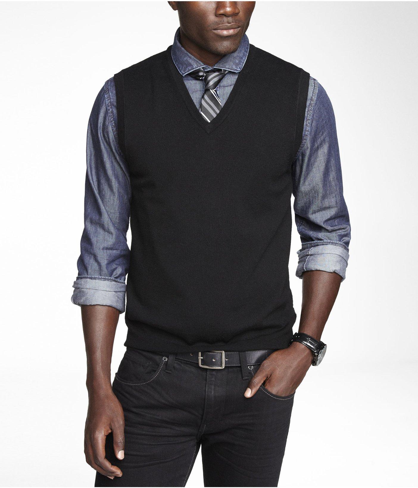 Express Merino Wool Sweater Vest in Black for Men | Lyst