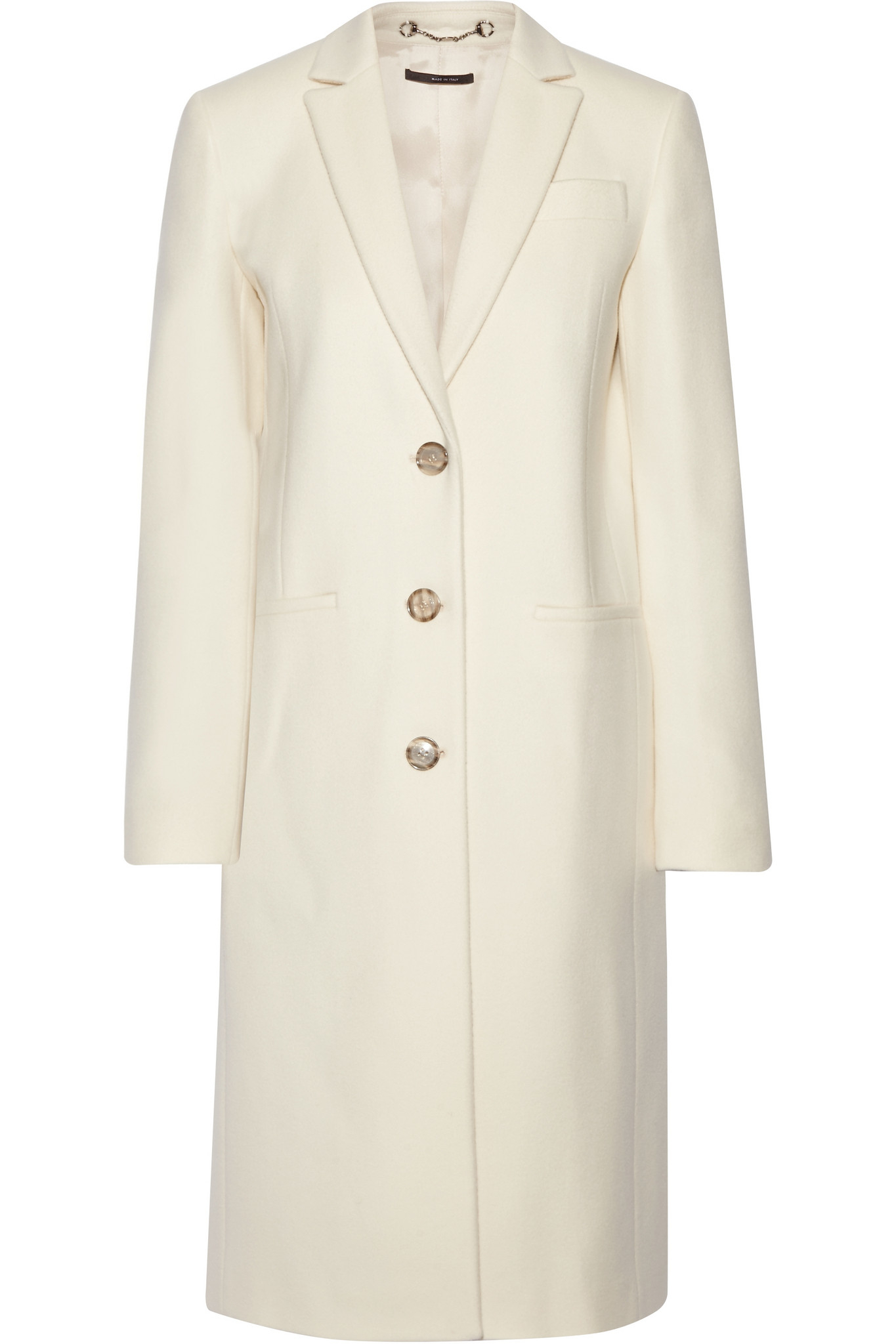 Gucci Wool Coat in White | Lyst