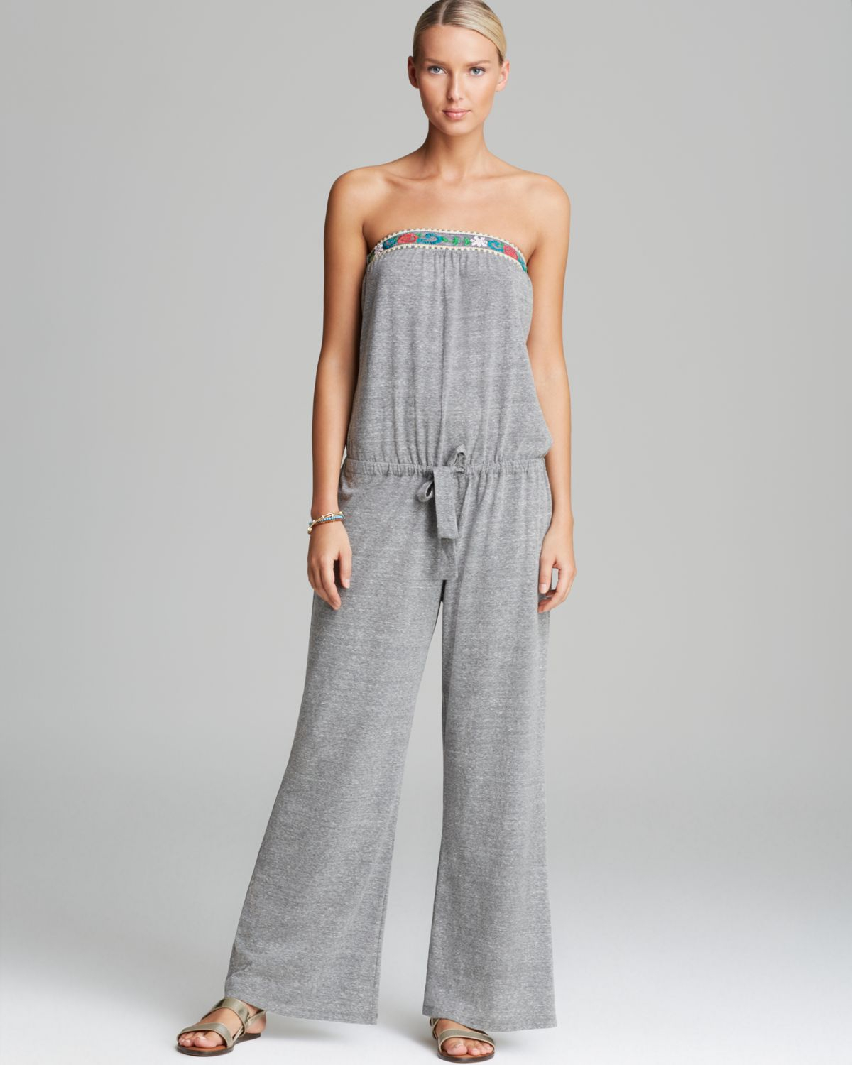 c8d37b769f93 Lyst - Lucky Brand French Tapestry Jumpsuit Swim Cover Up in Gray