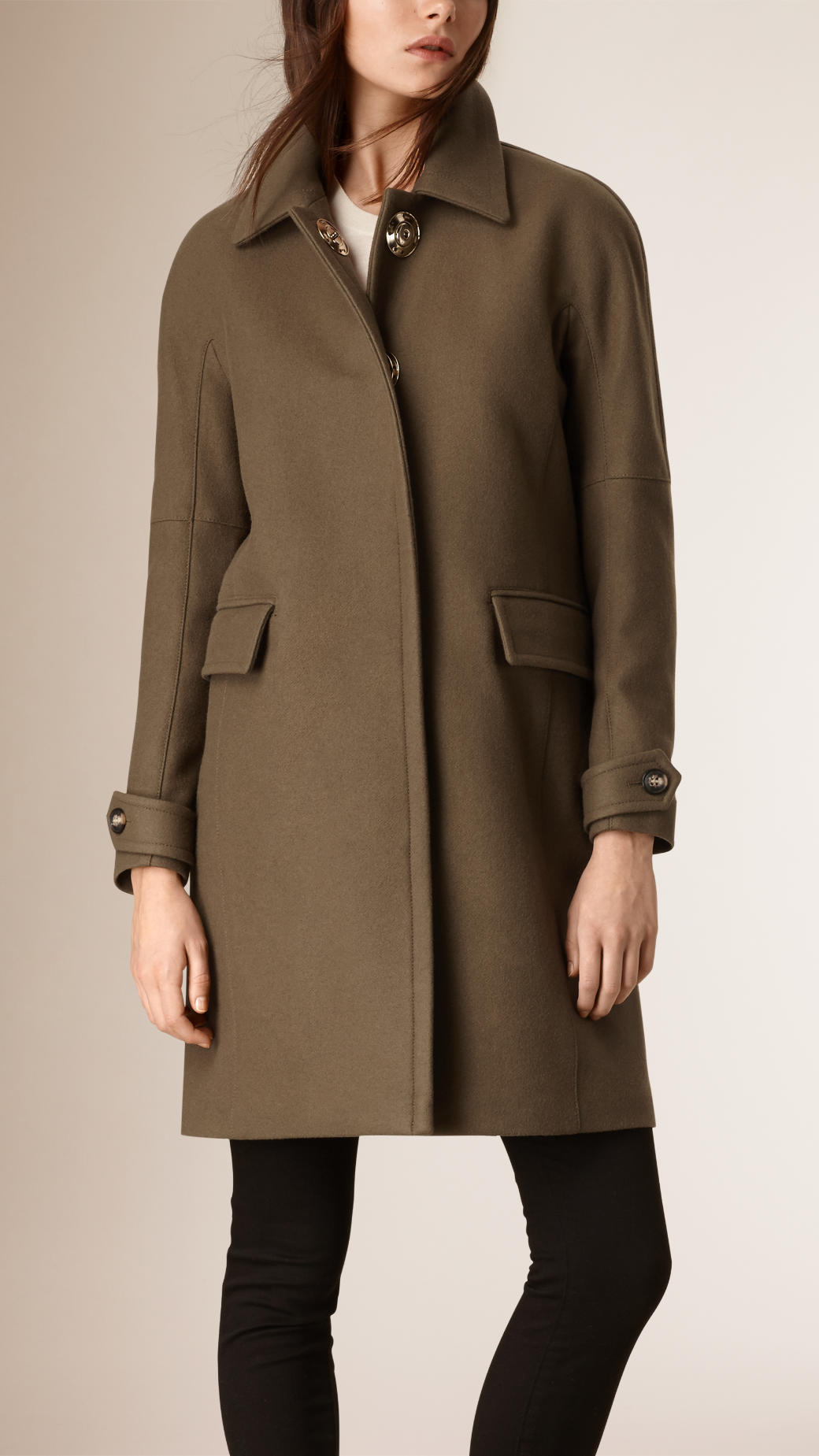 Burberry Technical Wool Cashmere Coat Olive in Green | Lyst