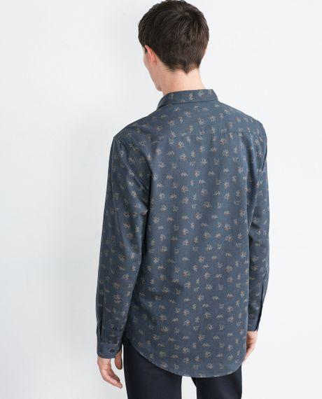 Zara floral shirt in blue for men navy blue lyst for Zara mens floral shirt