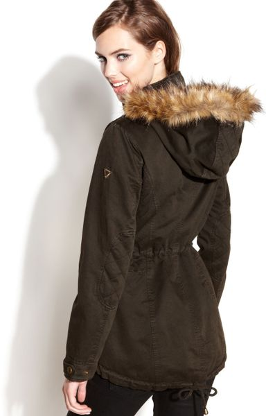 Guess Coat Hooded Fauxfur Trim Parka In Khaki Olive Lyst