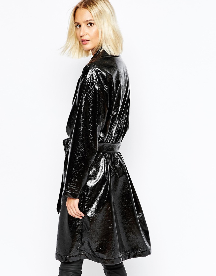 Lyst Selected Elected Scarlet Shiny Belted Trench Coat