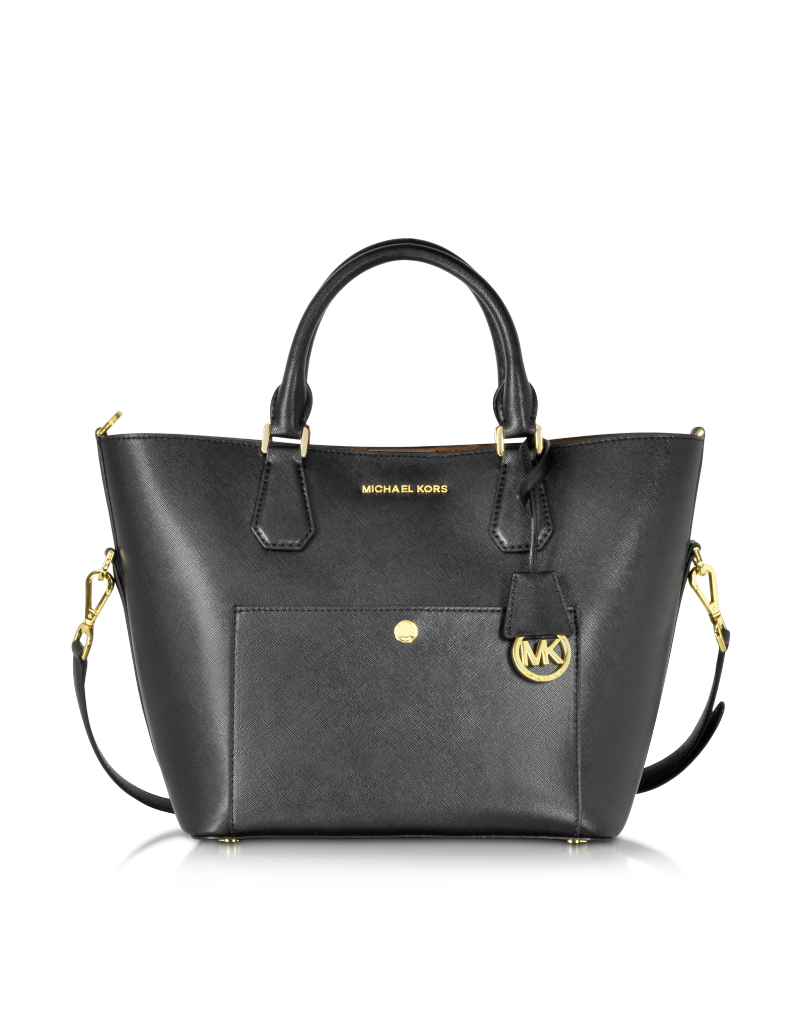 db883237ac8f Lyst - Michael Kors Greenwich Large Saffiano Leather Satchel in Black