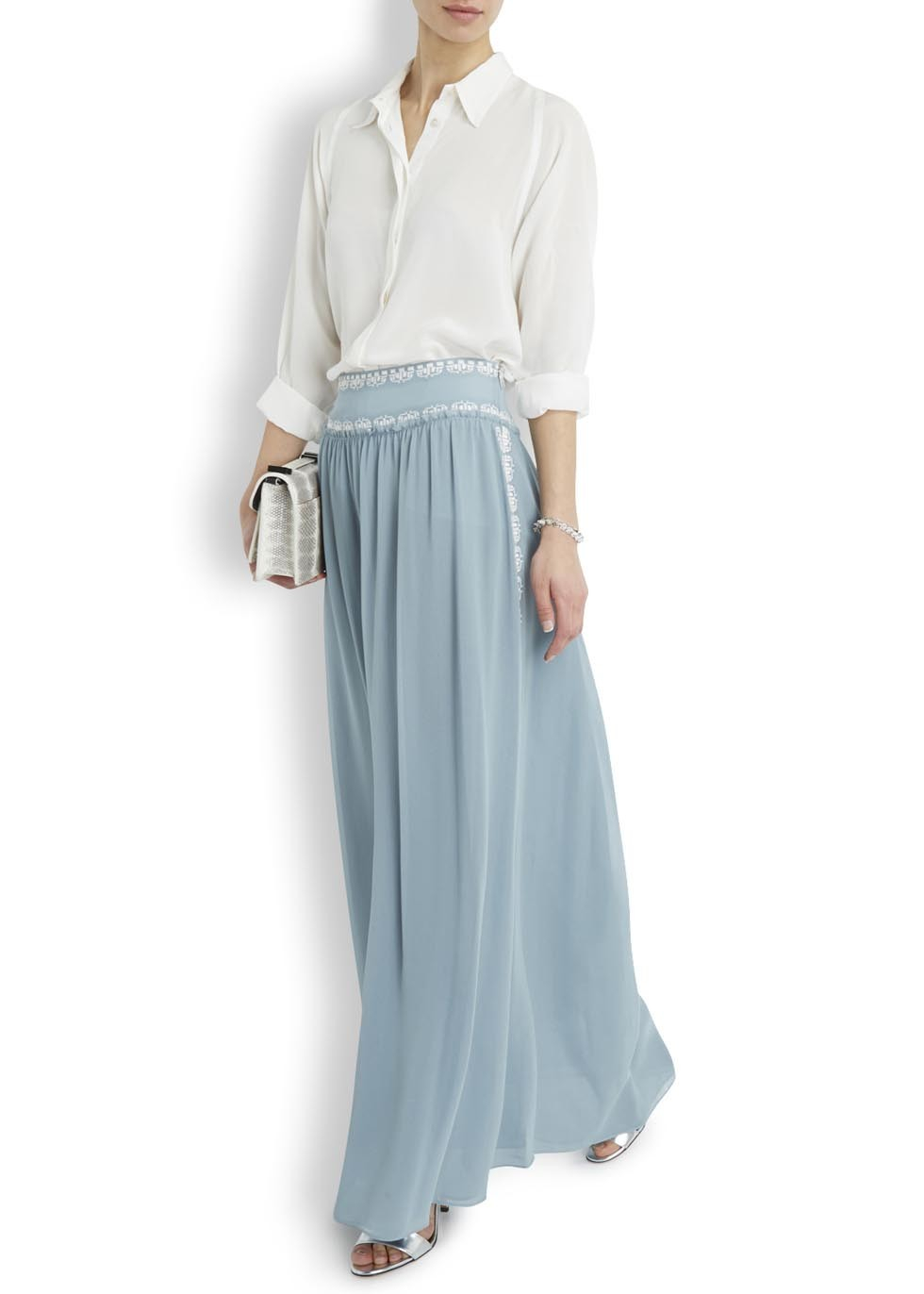 Tory burch Brandy Light Blue Silk Chiffon Maxi Skirt in Blue | Lyst