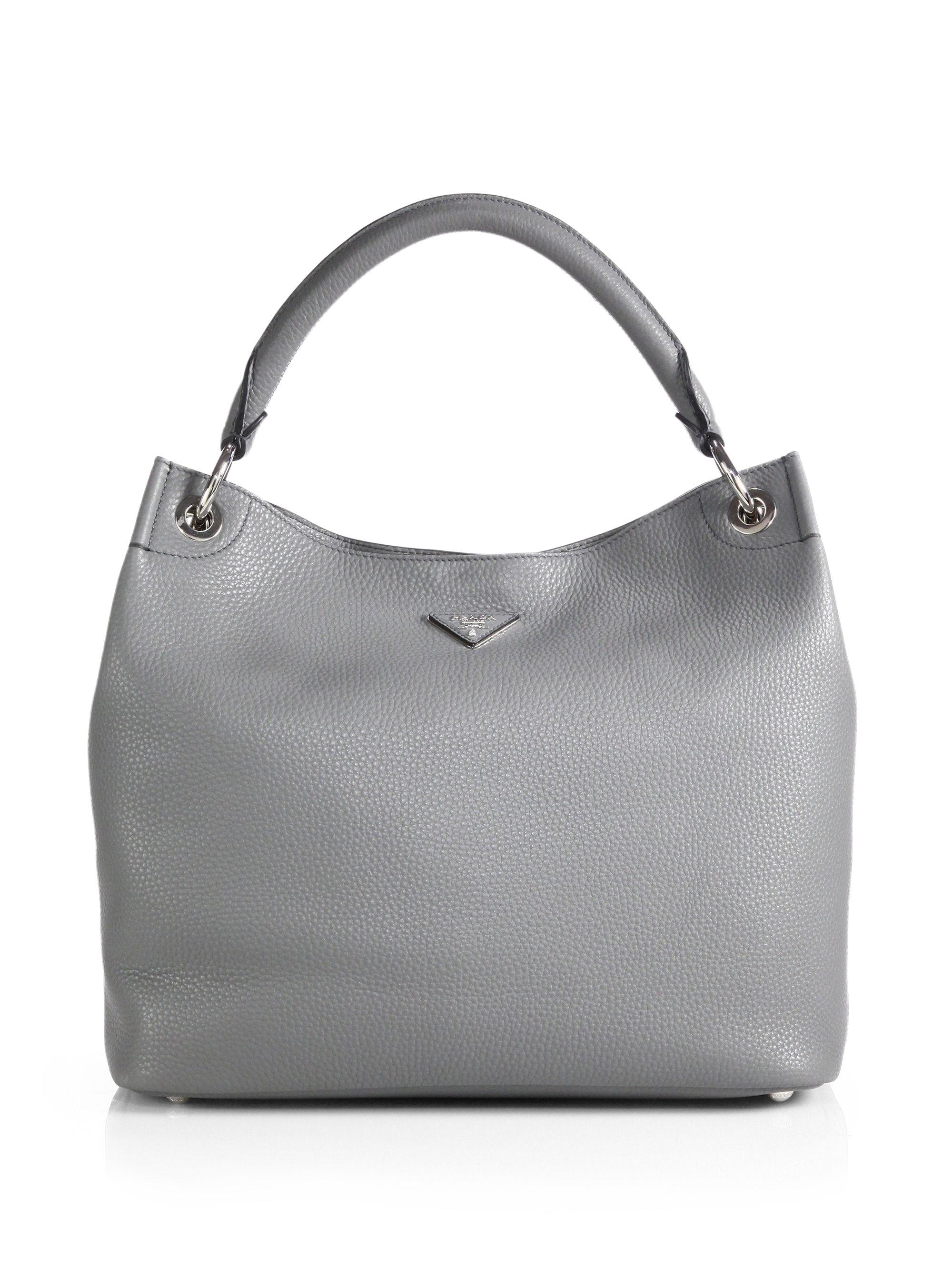 purple prada purse - Prada Daino Large Hobo Bag in Gray (MARMO) | Lyst