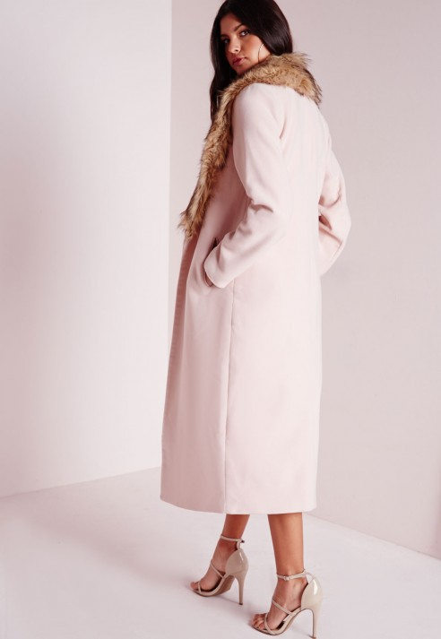 Missguided Longline Wool Coat With Faux Fur Collar Blush Pink in