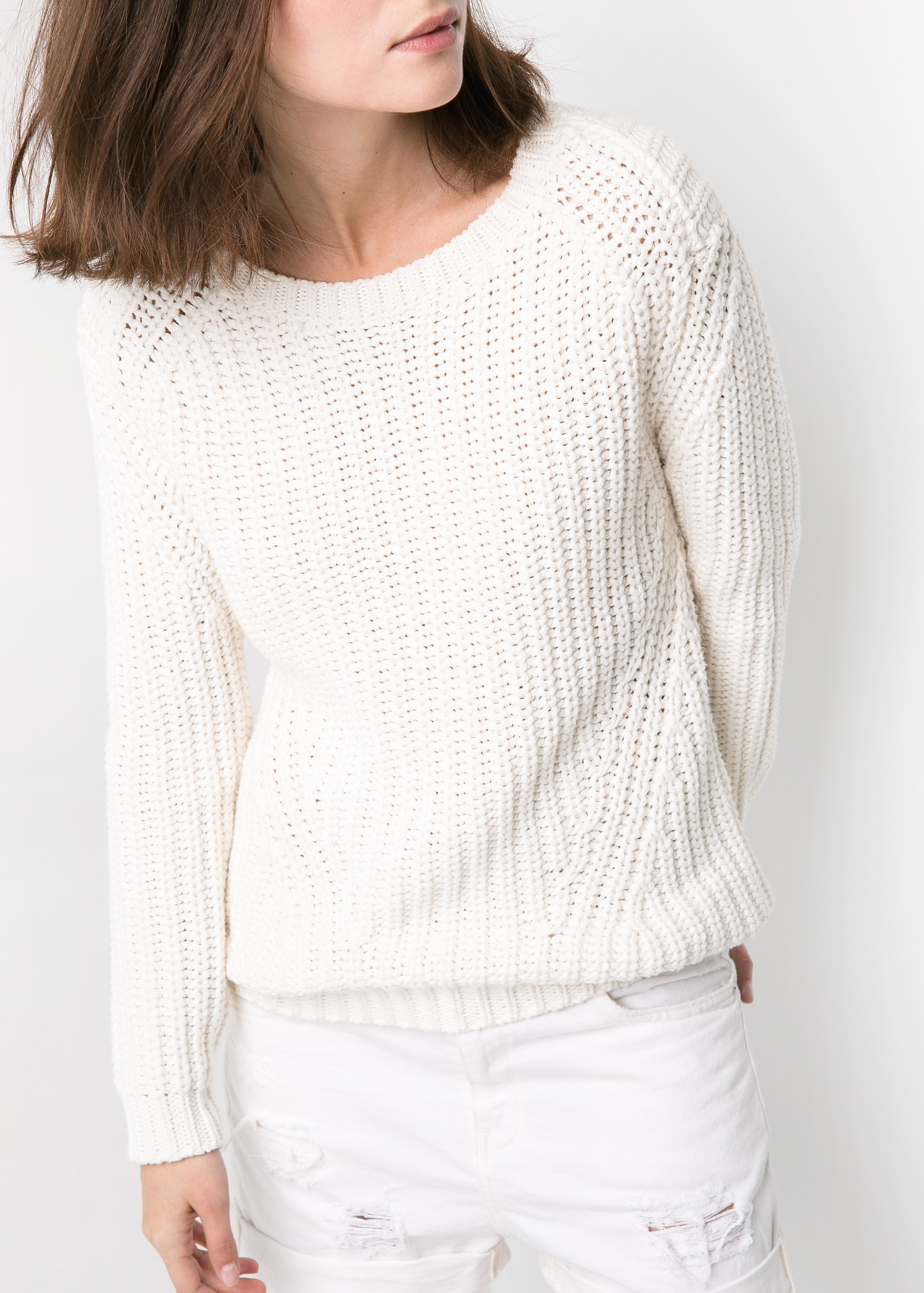 Mango Chunky-knit Sweater in White | Lyst