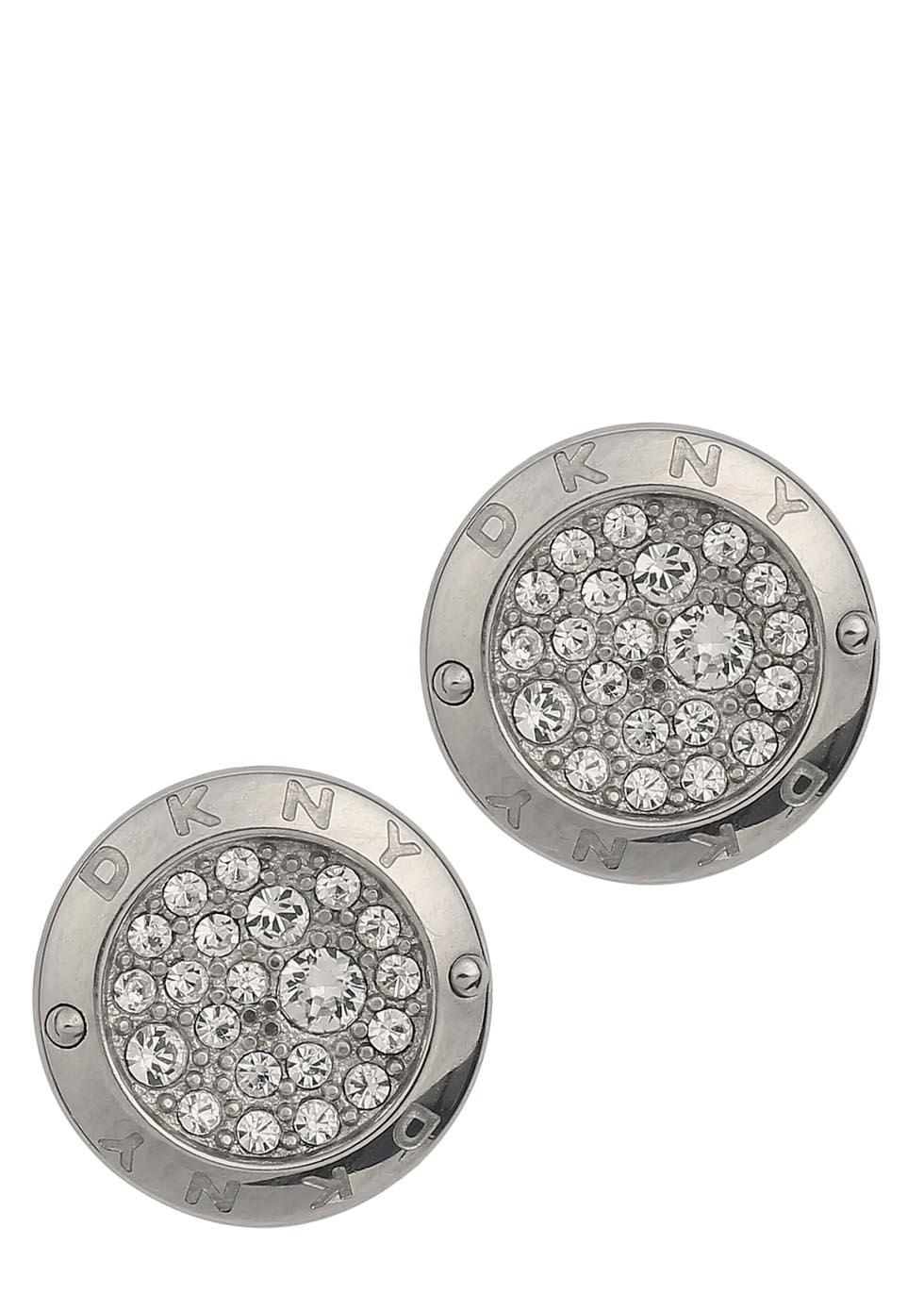 88fa22602 DKNY Silver Tone Pavé Cystal Stud Earrings in Metallic - Lyst