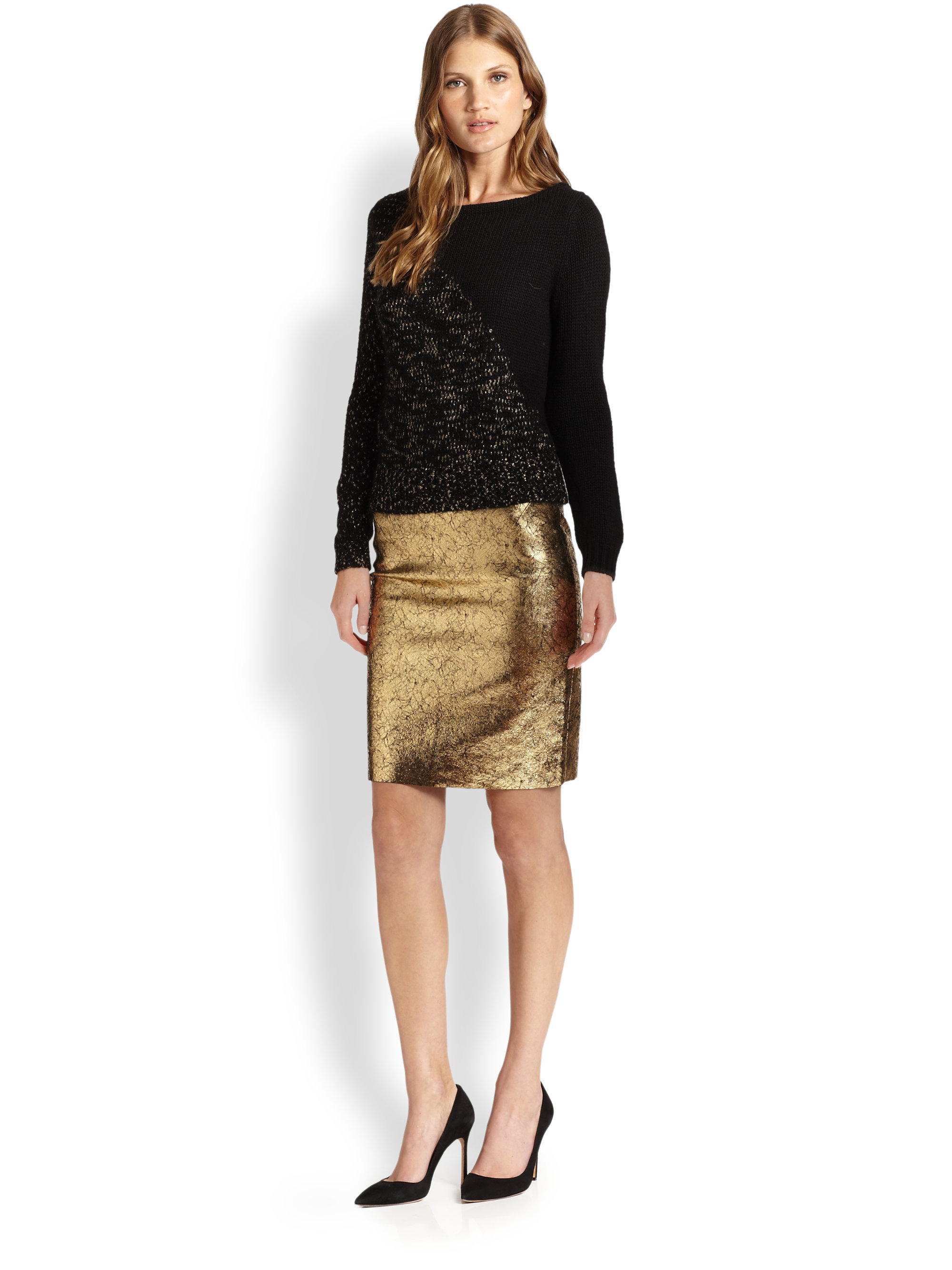 raoul metallic leather pencil skirt in gold lyst