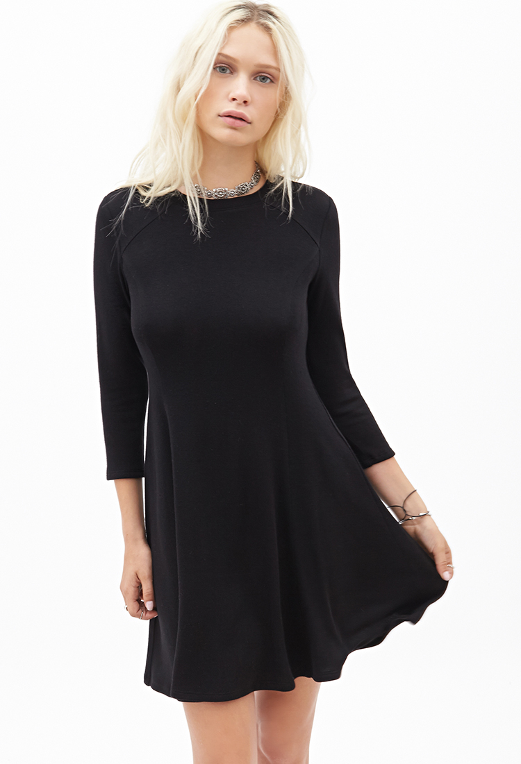 lyst forever 21 longsleeved skater dress in black