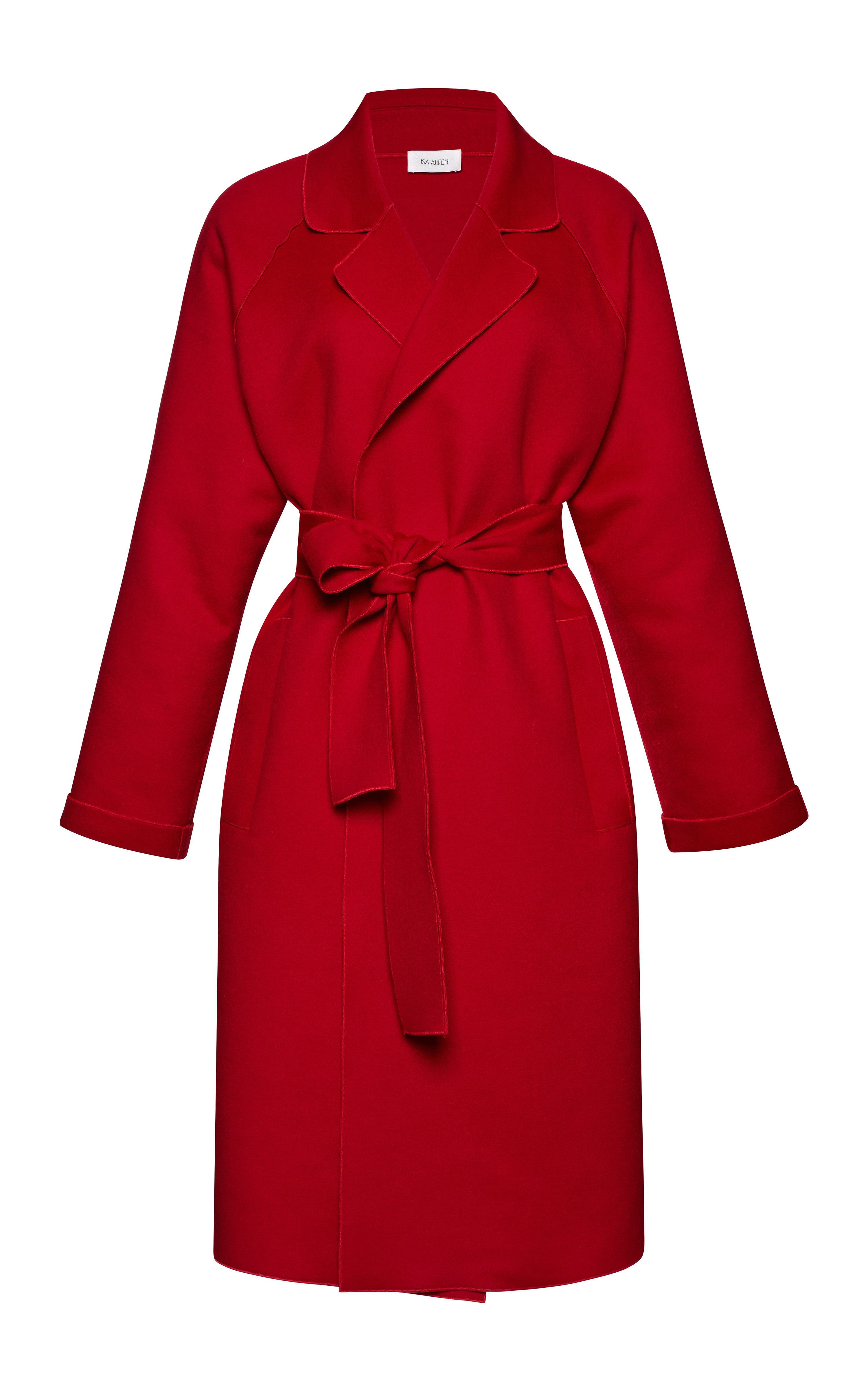 Isa arfen Belted Wool And Cashmere-Blend Coat in Red | Lyst