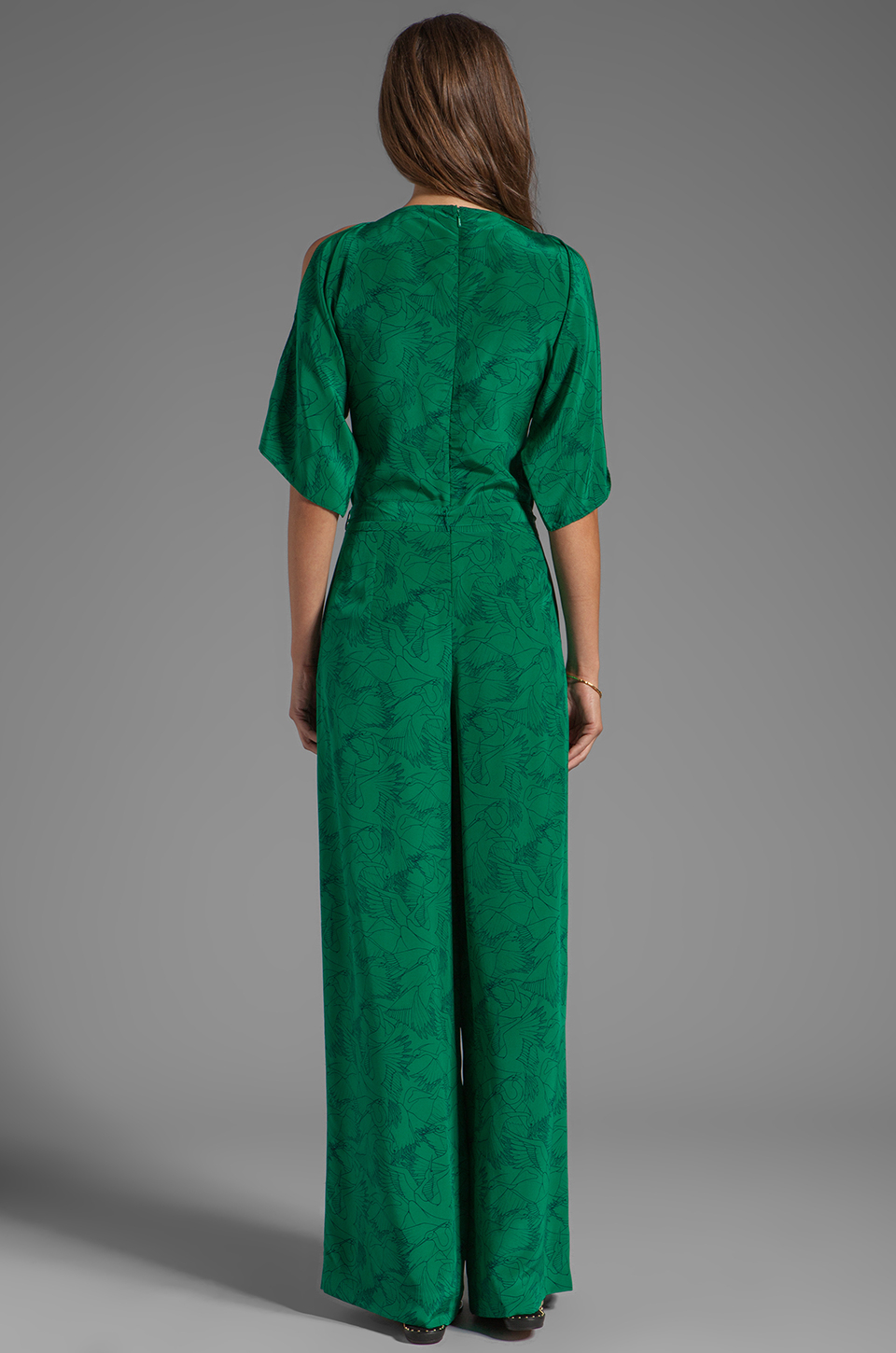 Alice By Temperley Heron Print Jumpsuit In Green In Green