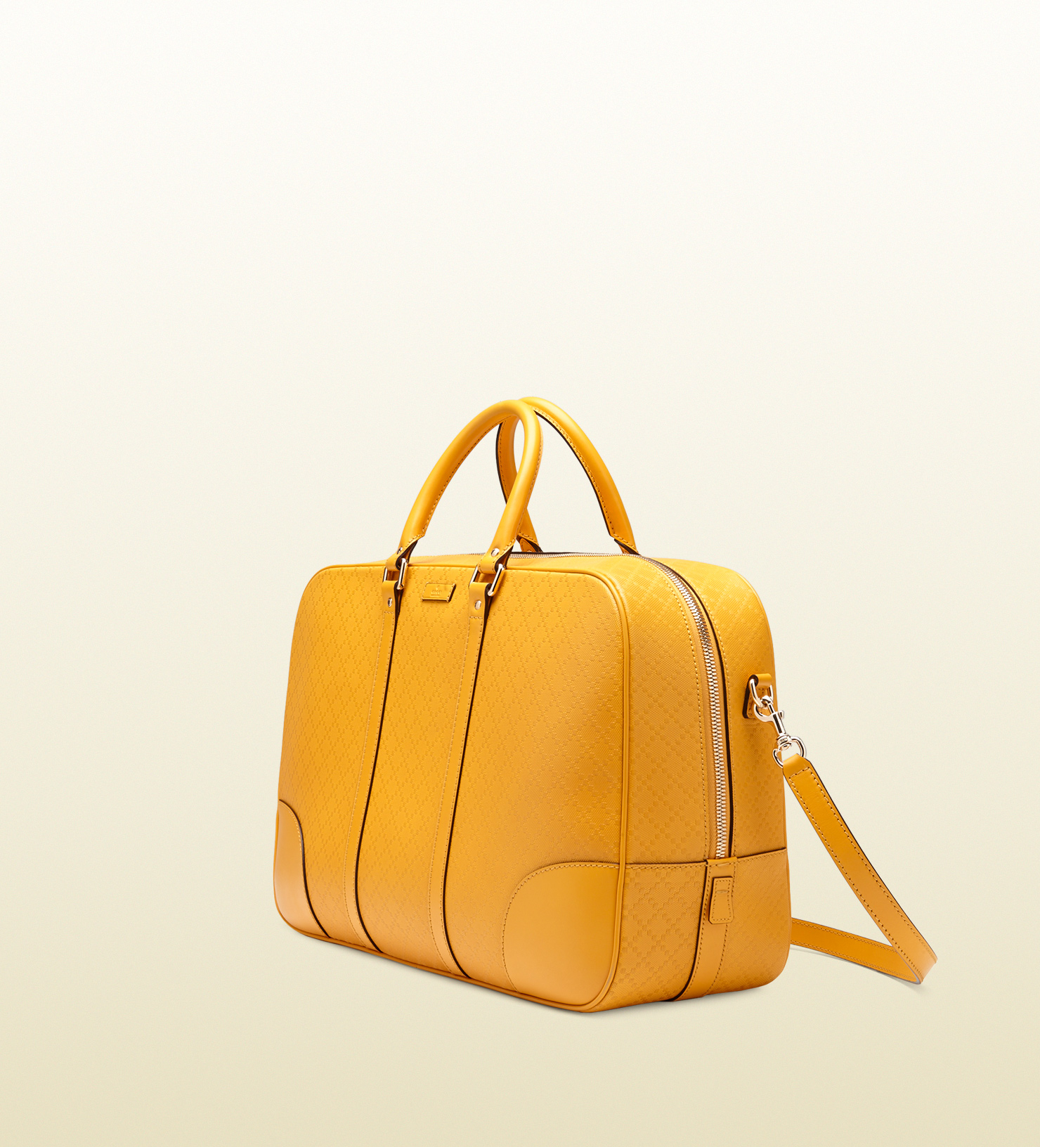 90290e3c52d Lyst - Gucci Bright Diamante Leather Duffle Bag in Yellow