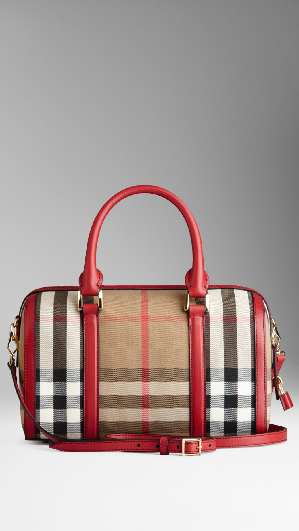 4bae7ca4bf6a Burberry The Medium Alchester In House Check And Leather in Red - Lyst