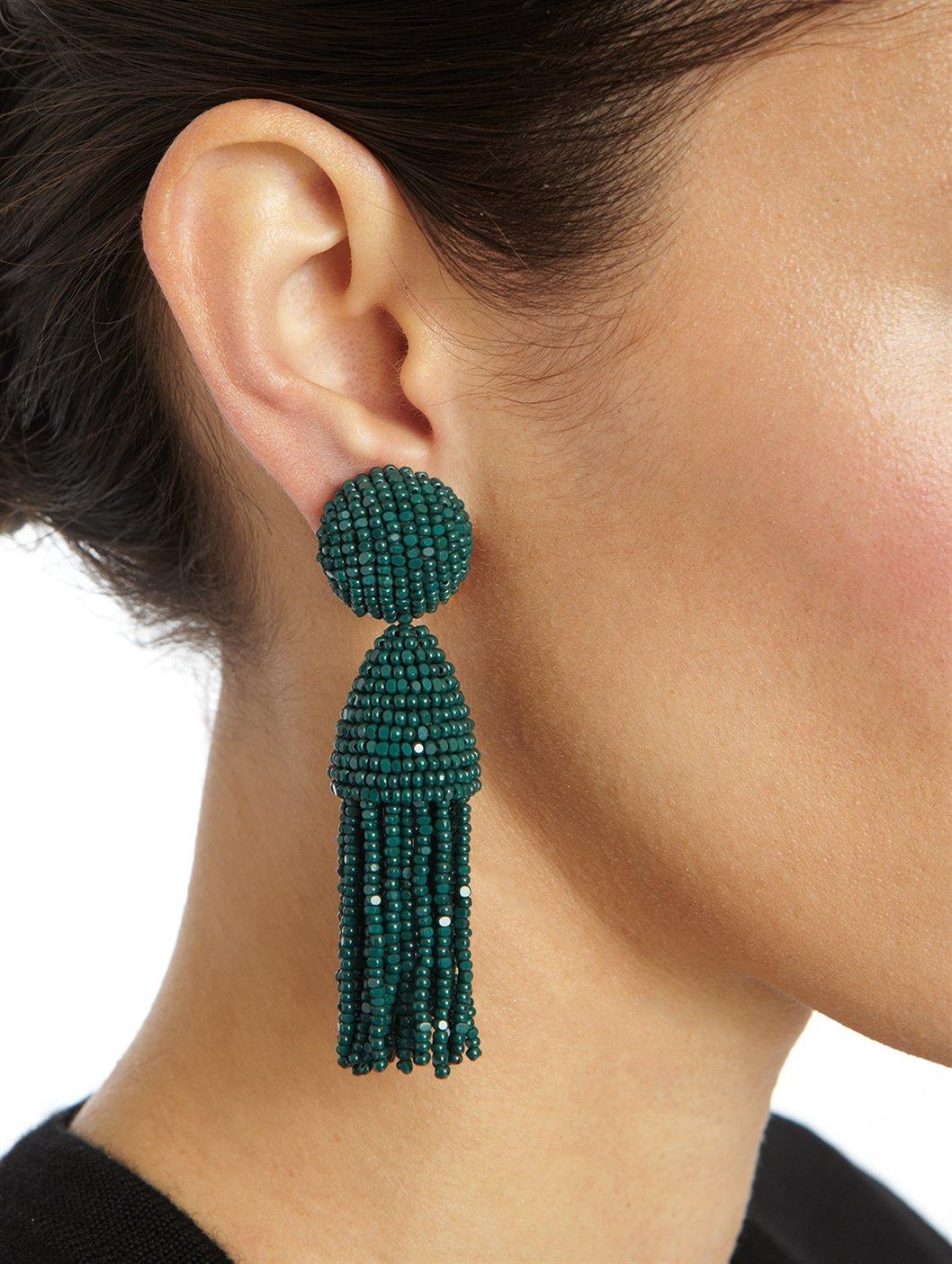 Oscar De La Renta Short Classic Tassel Earring In Green Lyst