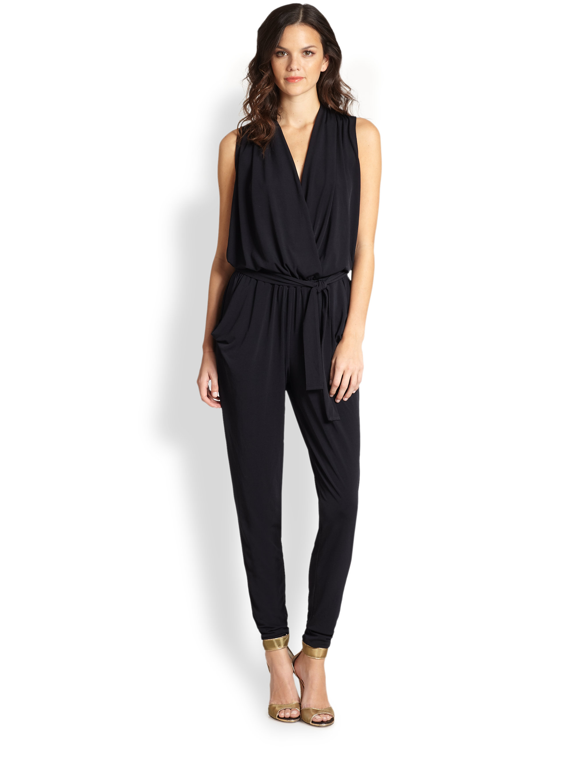 81fb12195d7 Lyst - MICHAEL Michael Kors Belted Jersey Jumpsuit in Black
