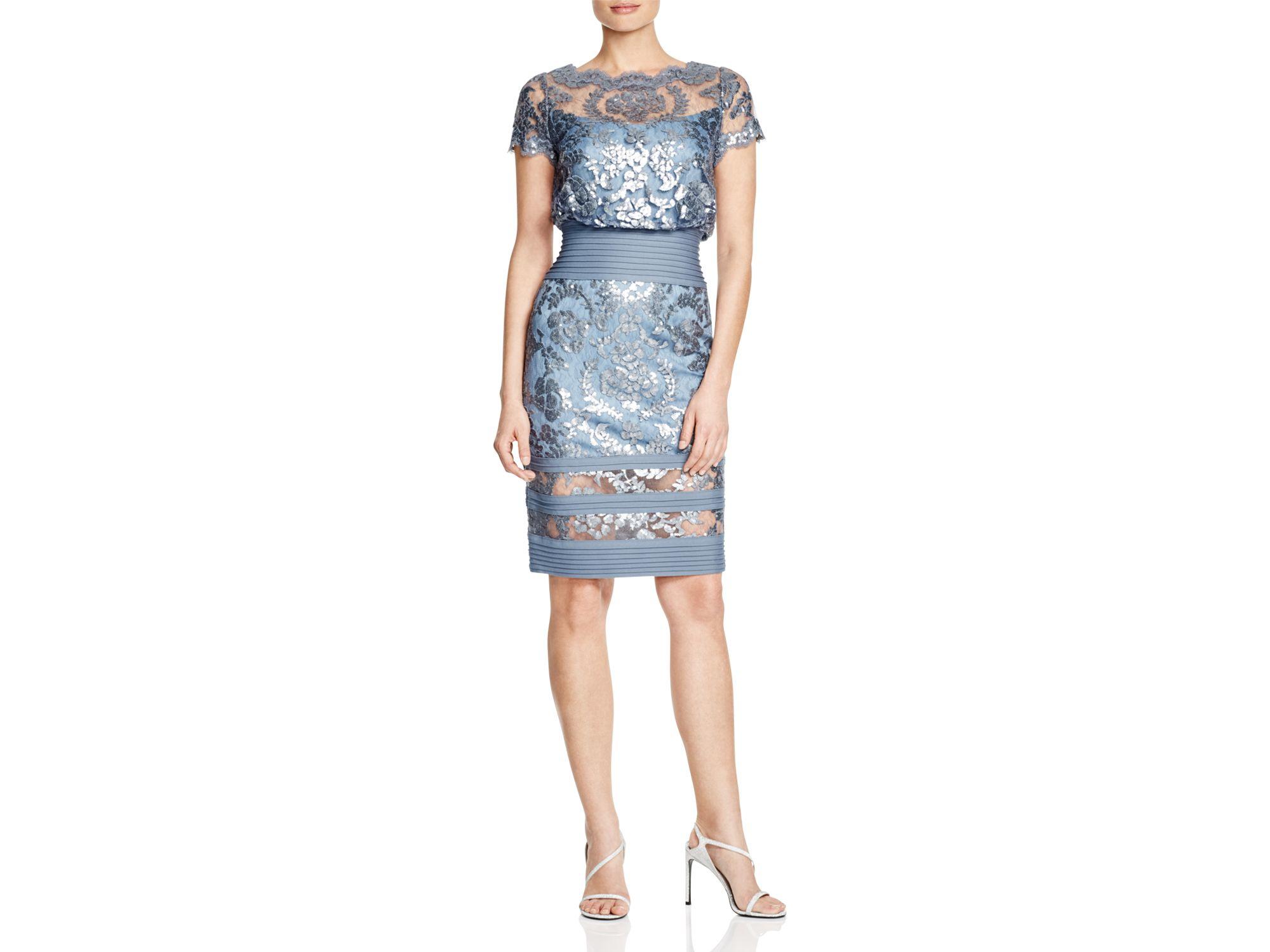 70fe20d403d1 Tadashi Shoji Short Sleeve Sequined Lace Blouson Dress in Blue - Lyst