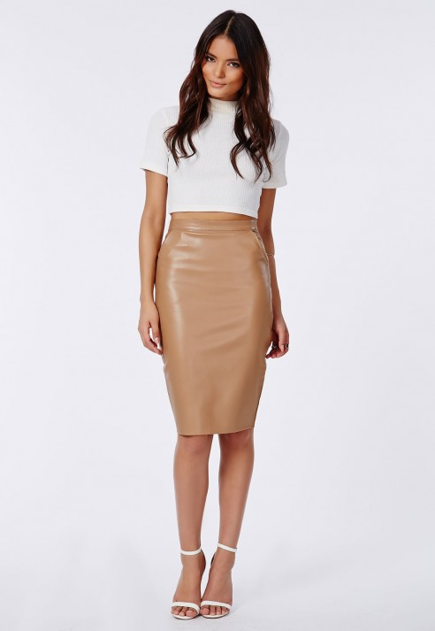 Missguided Mariota Faux Leather Pencil Skirt Camel in Natural | Lyst