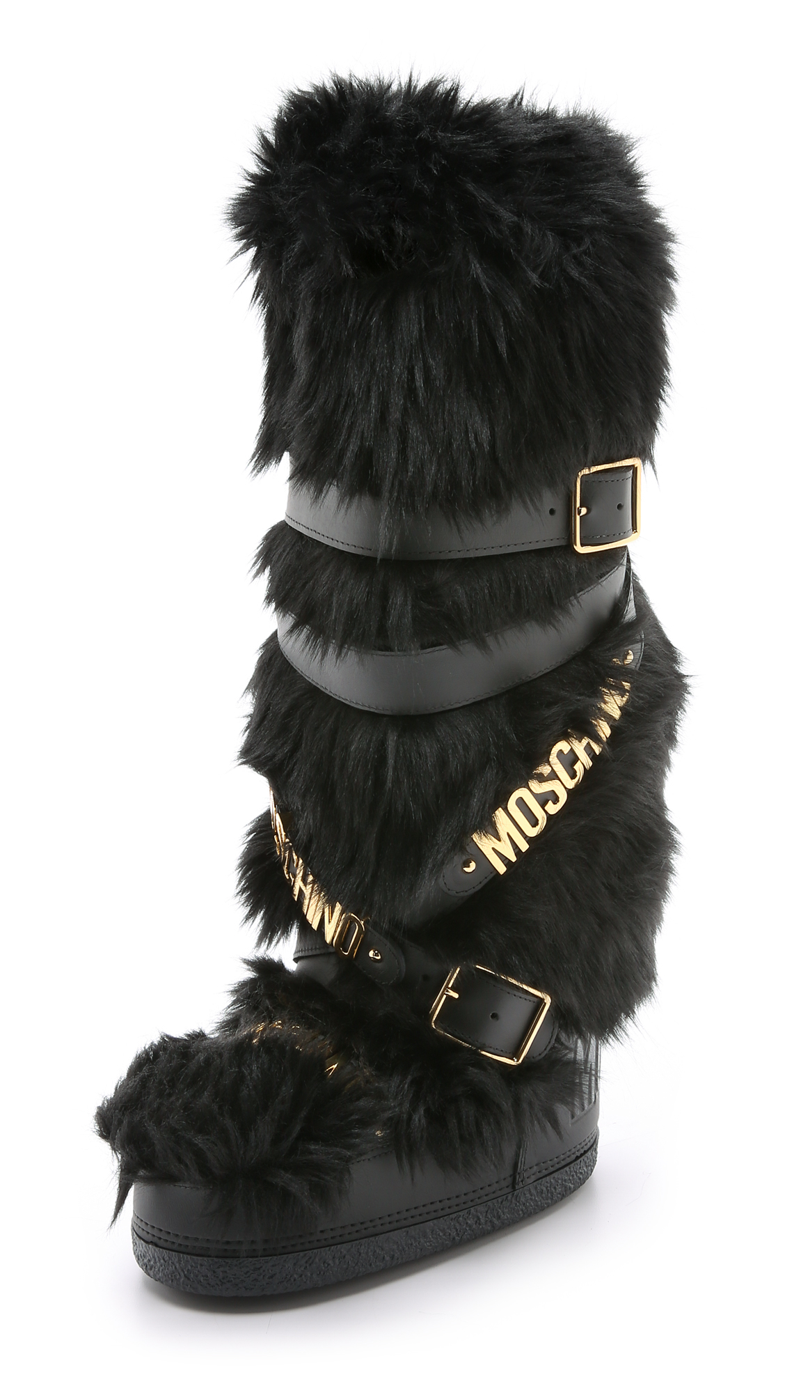 moschino logostrap fauxfur snow boots in black lyst