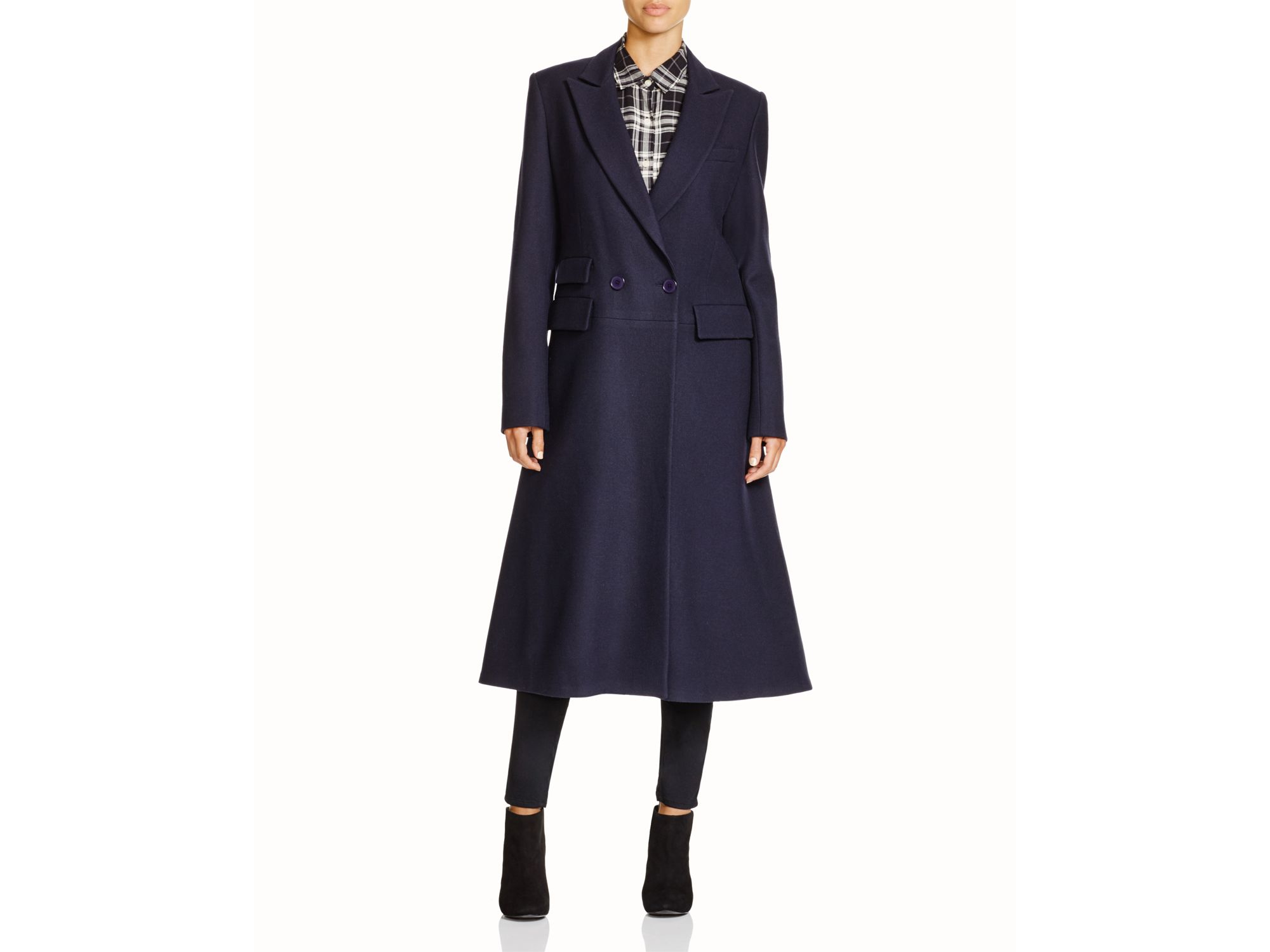 Dkny Flared Wool Coat in Blue | Lyst