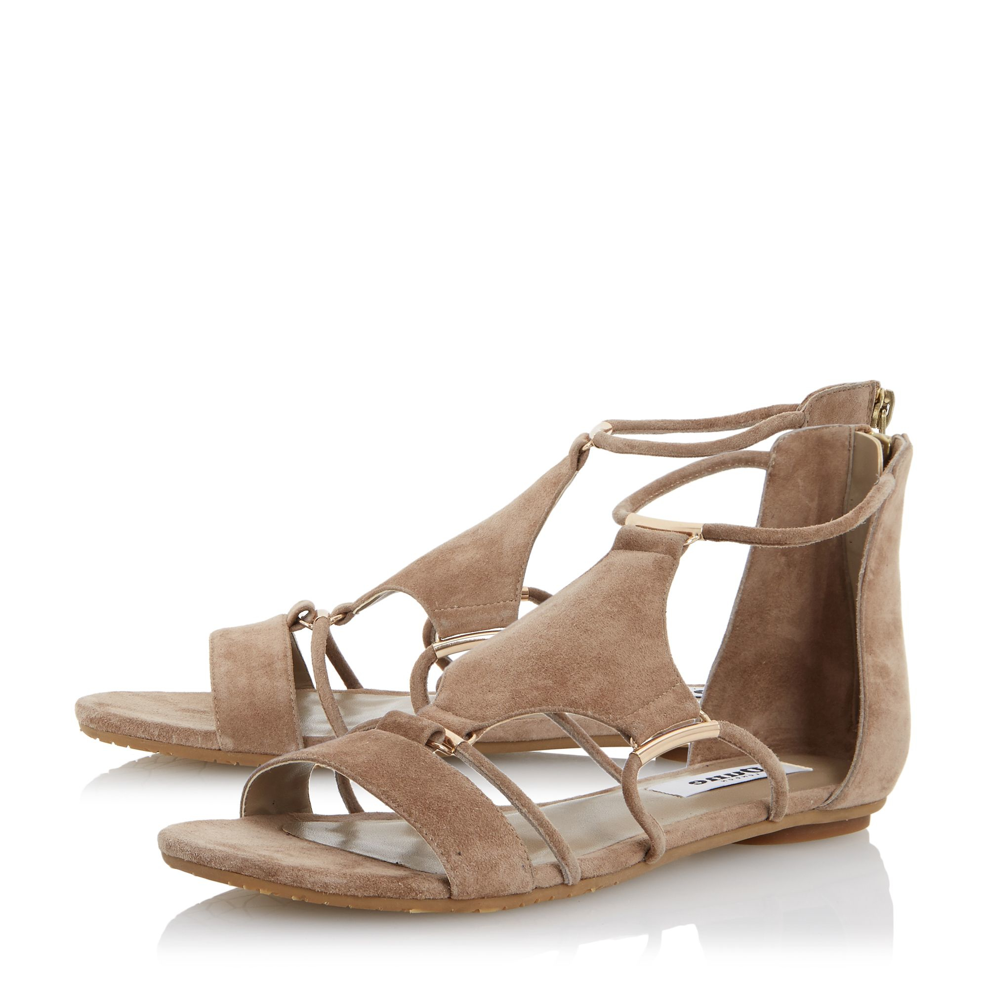 Dune Laik Hardware Detail Suede Flat Sandals In Gray Lyst