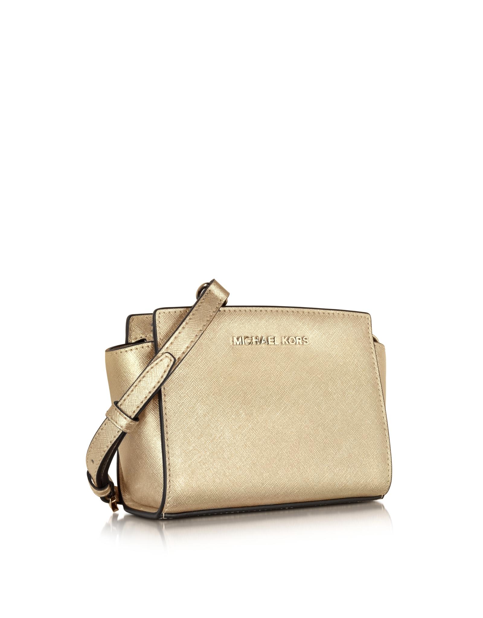 fc2e96bc5aa64 Lyst - Michael Kors Pale Gold Metallic Saffiano Leather Selma Mini Messenger  Bag in Metallic