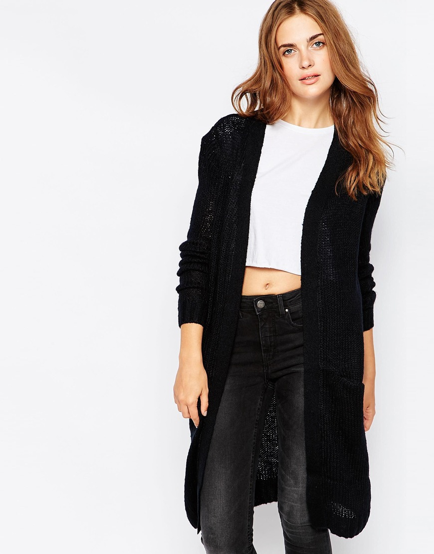 Blend she Longline Cardigan With Pockets in Black | Lyst