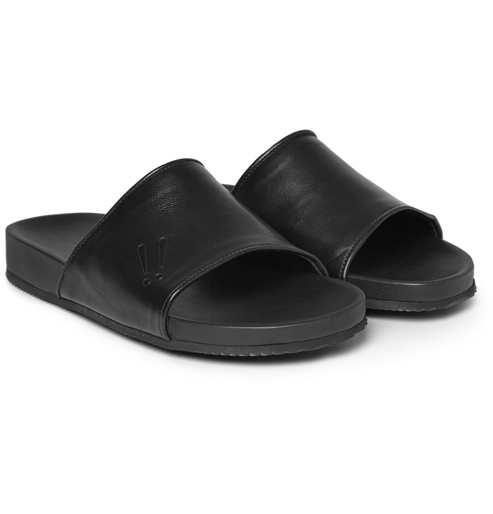 Lyst Mr Hare Leather Sliders In Black For Men