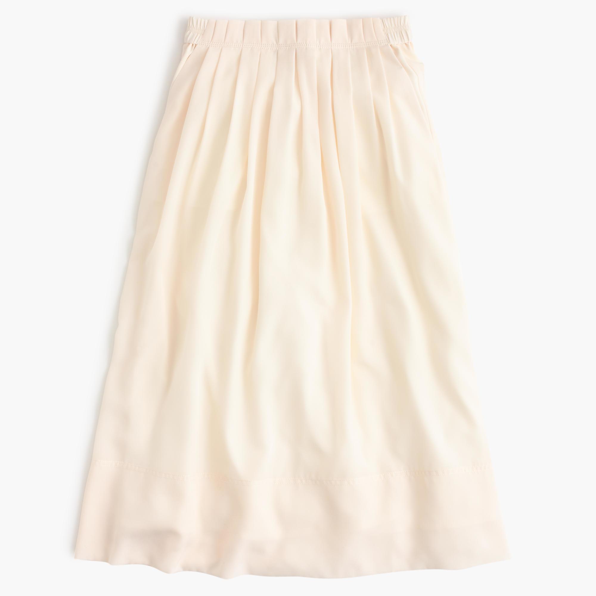 j crew pleated midi skirt in beige flannel lyst