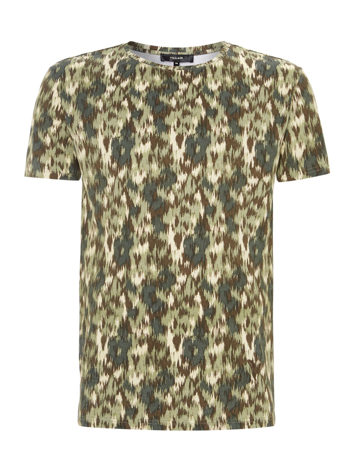 Villain ikat camo printed t shirt in green for men lyst for Camo print t shirt