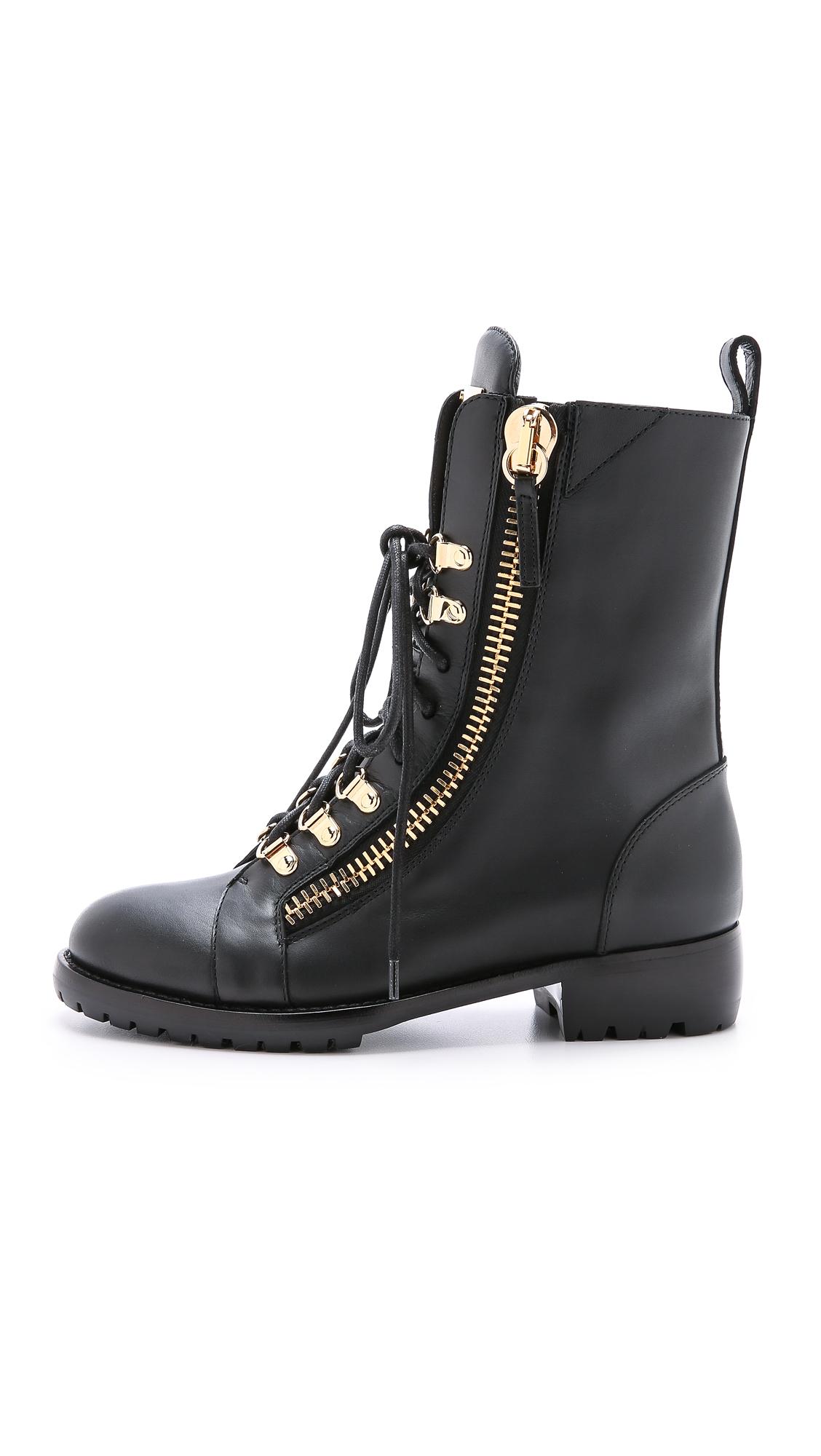 Giuseppe zanotti Zipper Combat Boots - Black in Black | Lyst