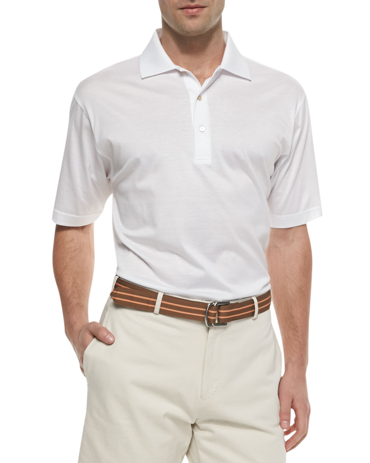 Peter millar cotton short sleeve polo in white for men lyst for Peter millar polo shirts