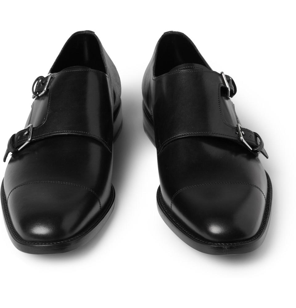 Saint Laurent Leather Double Monk Strap Shoes In Black For Men Lyst
