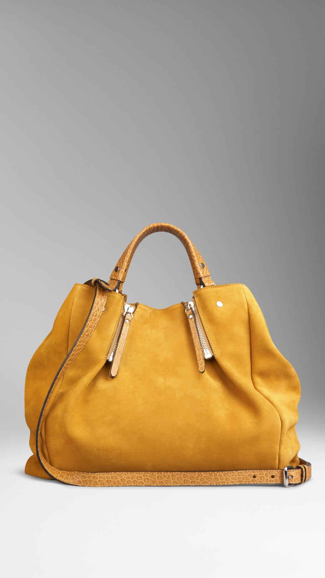 d2d441a366e4 Lyst - Burberry Large Suede Tote Bag in Yellow