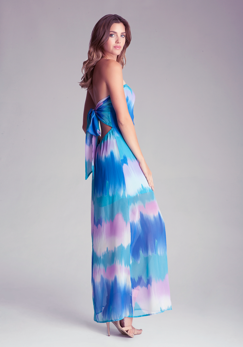 Lyst Bebe Strapless Woven Maxi Dress In Blue