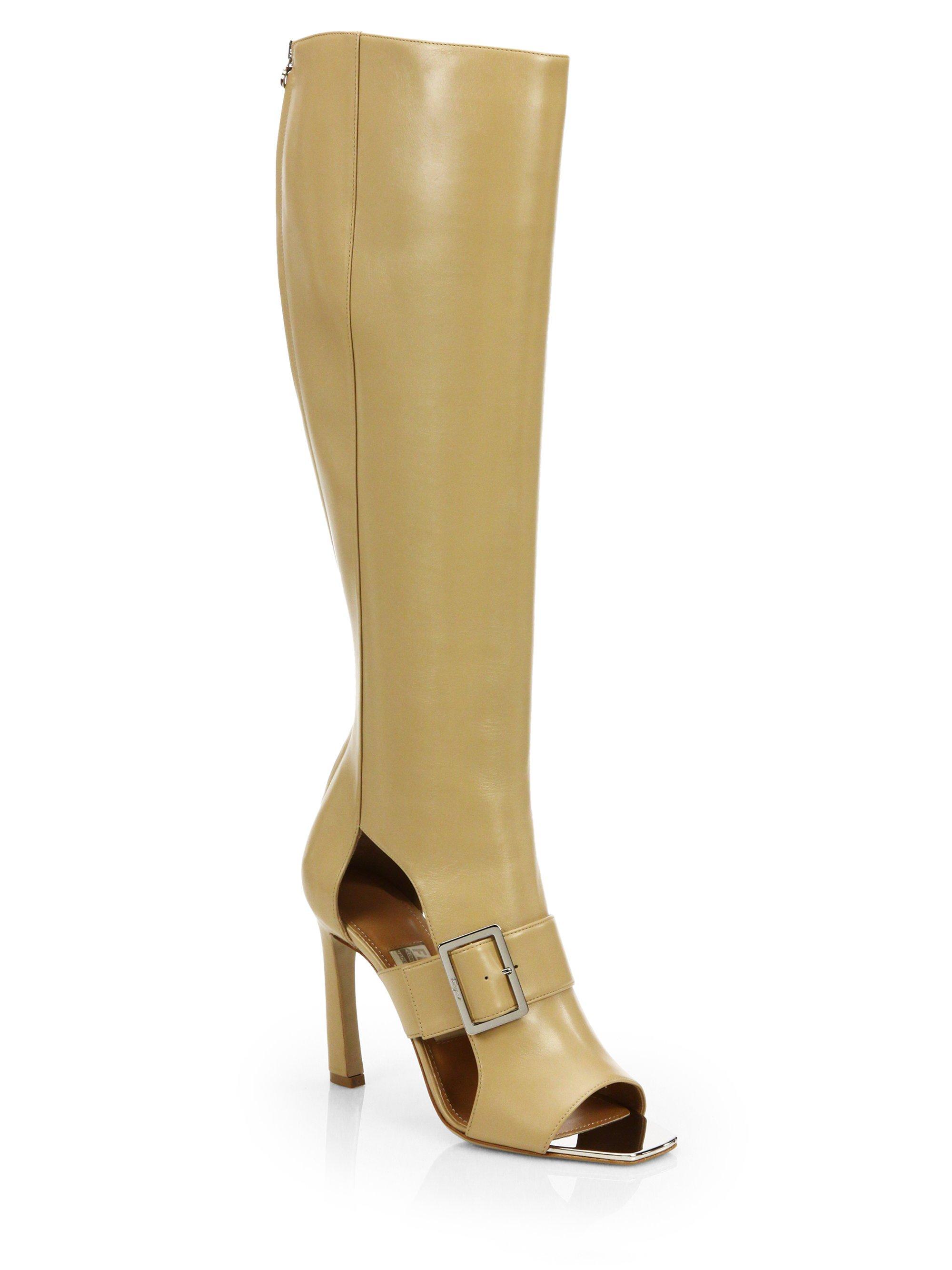 Ferragamo Pegasus Leather Opentoe Boots in Beige (SESAMO) - Lyst