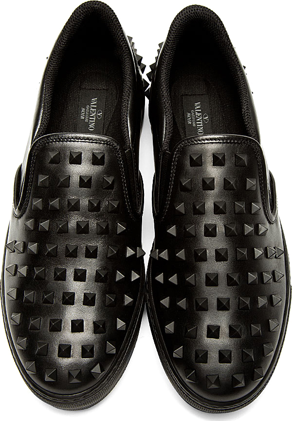 Valentino Black Leather Studded Slip On Shoes In Black For