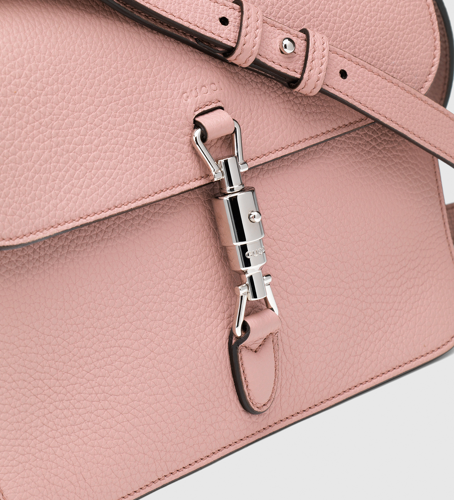 efbb25275dac02 Gucci Jackie Soft Leather Flap Shoulder Bag in Pink - Lyst