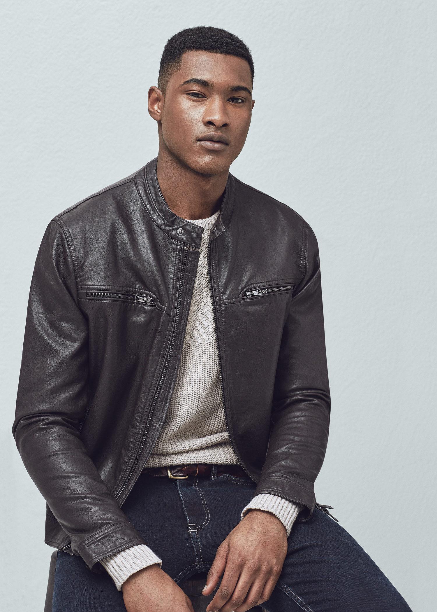 Lyst Mango Zipped Biker Jacket In Black For Men