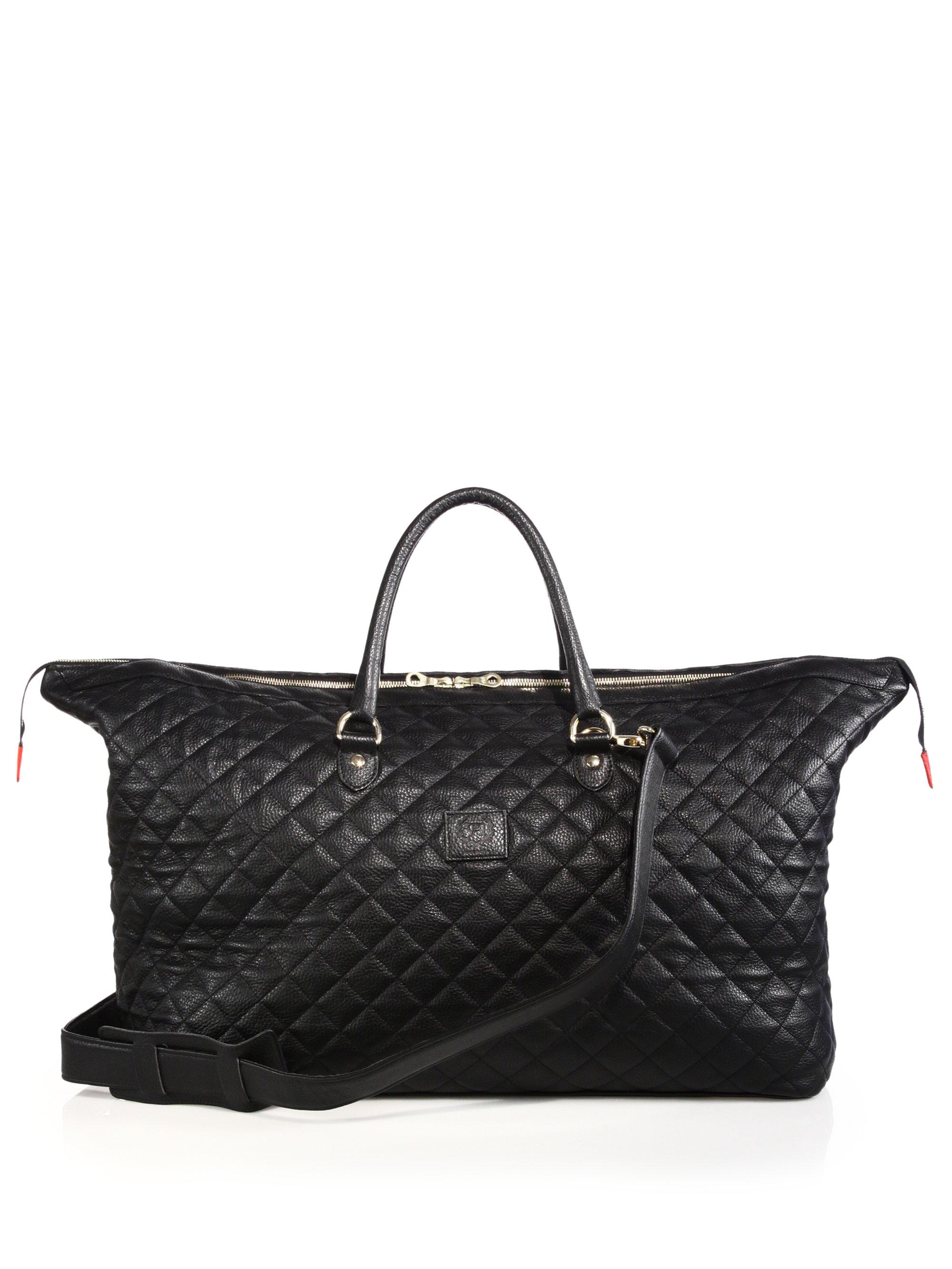 Lyst Del Toro Quilted Leather Weekender Bag In Black For Men